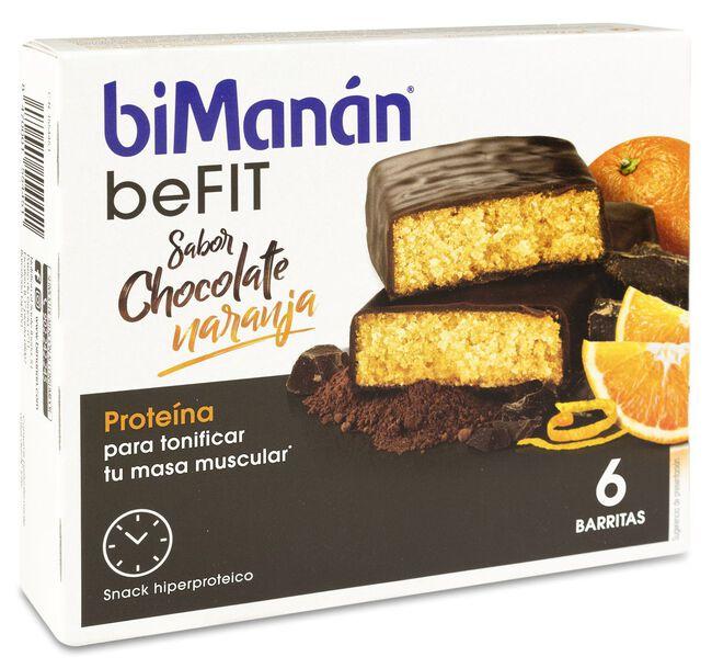 biManán Pro Barritas Chocolate Naranja, 6 Uds