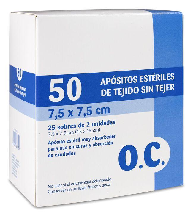 O.C. Apósitos Estériles Tejido sin Tejer 7,5 x 7,5 cm, 50 Uds