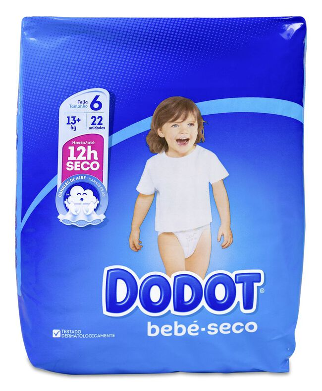 Dodot Bebé Seco Pañal Talla 6 +13 Kg, 22 Uds