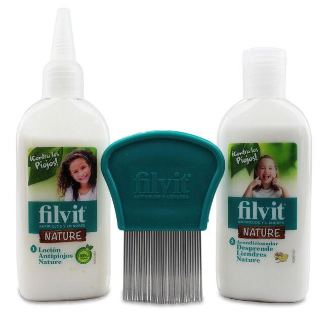 Filvit Nature Kit Antipiojos Loción + Acondicionador + Lendrera, 1 Ud