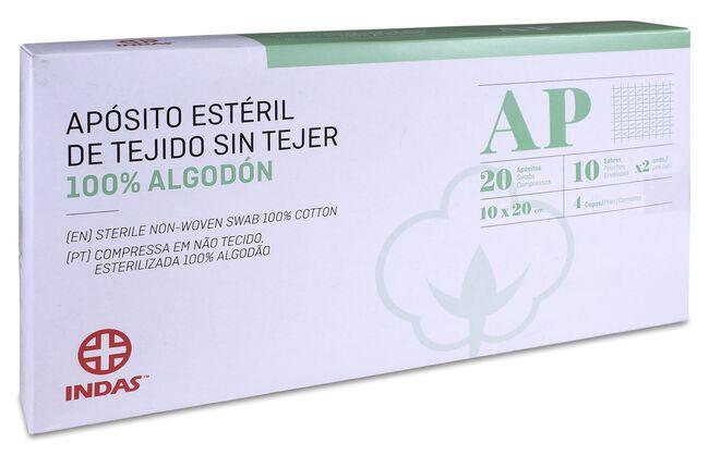 Indas Apósito Estéril Tejido Sin Tejer 100% Algodón 10x20cm, 20 Uds