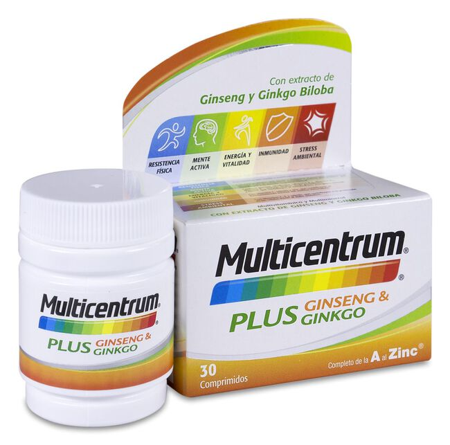 Multicentrum Plus Ginseng & Ginkgo, 30 Comprimidos
