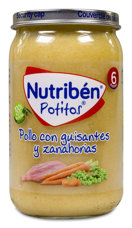 Nutribén Potitos Pollo con Guisantes y Zanahorias, 235 g