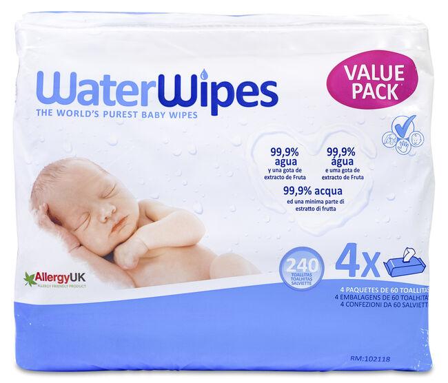 Pack WaterWipes, 4 x 60 Toallitas
