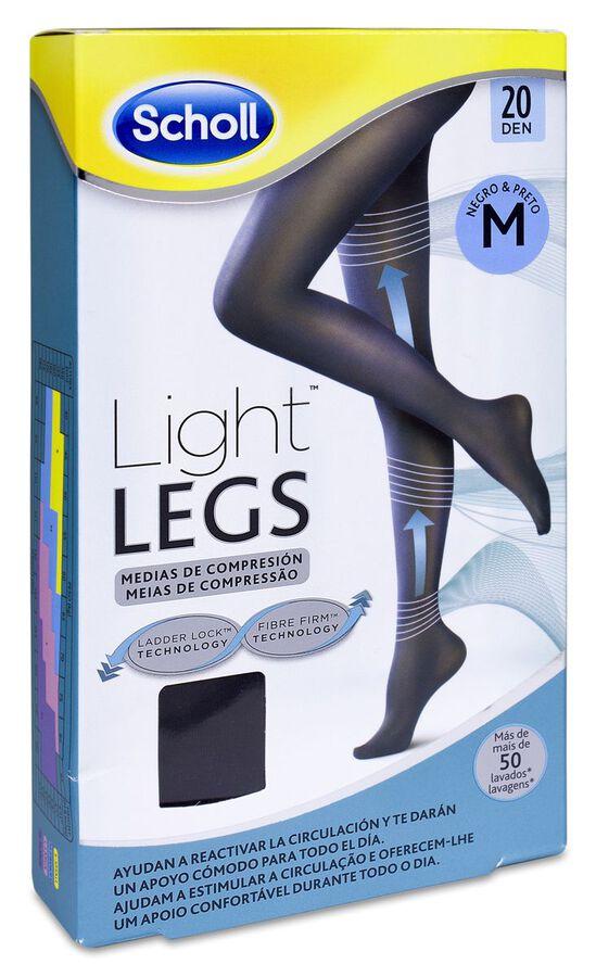 Scholl Light Legs Medias de Compresión Ligera 20 Den Negro Talla M, 1 Ud