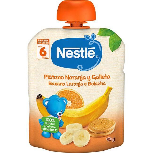 Nestlé Purés Plátano, Naranja y Galleta, 90 g