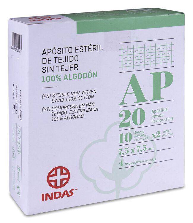 Indas Apósito Estéril Tejido Sin Tejer 100% Algodón 7,5 x 7,5 cm, 20 Uds