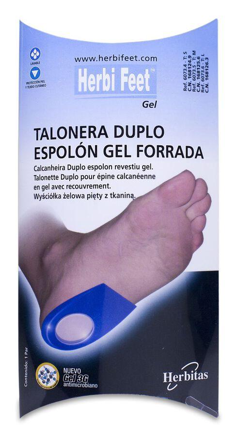 HerbiFeet Talonera Duplo Espolón Gel Forrada Talla L, 1 Par