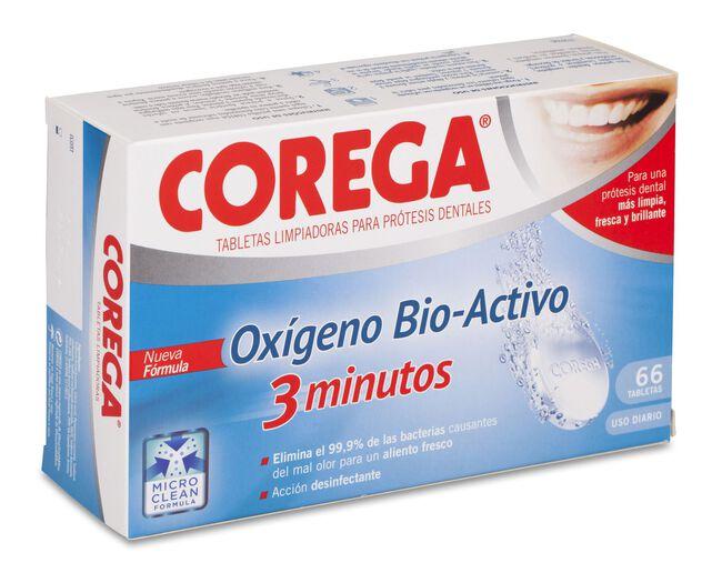 Corega Oxígeno Bio-Activo Limpieza Prótesis Dental, 66 Uds