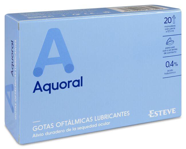 Aquoral Gotas Oftálmicas Lubricantes Estéril Ácido Hialurónico 0,4%, 20 Uds