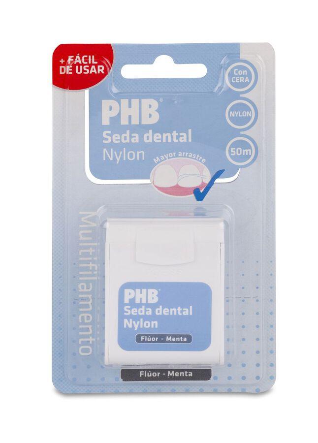 PHB Flúor Menta Seda Dental Nylon con Cera 50 m, 1 Ud
