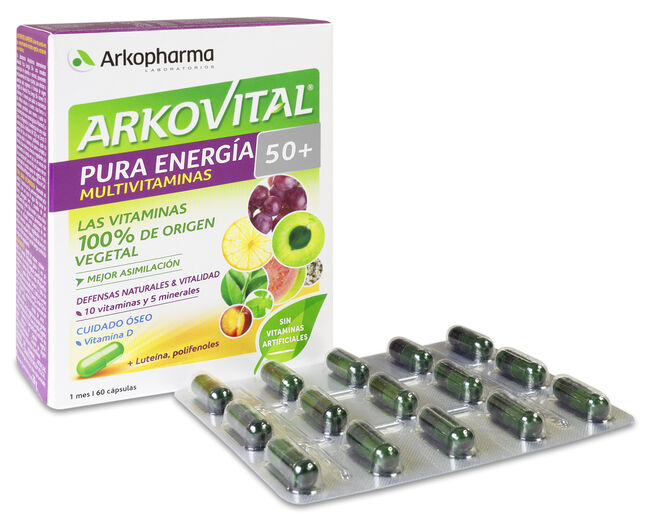 Arkopharma Arkovital Pura Energía 50+ Multivitaminas, 60 Cápsulas