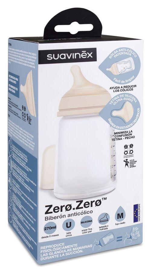 Suavinex Zero Zero Biberón Anticólicos 270 ml con Tetina de Flujo Medio, 1 Ud